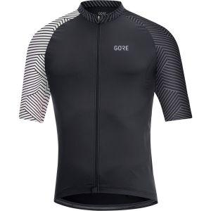 C5 Jersey Maglia Ciclismo Maniche Corte Uomo Black White