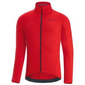 C3 Maglia Thermo Jersey Maglia Ciclismo Manica Lunga Uomo Rosso