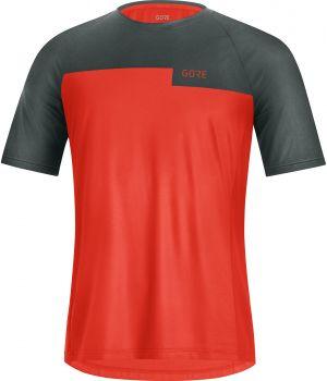 Maglia Maniche Corte MTB Enduro Gravel  Gore Trail Shirt Arancio e Grigio
