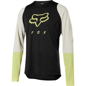 Maglia Maniche Lunghe MTB Enduro Gravel Fox Defend LS Foxhead Jersey  Nero Giallo