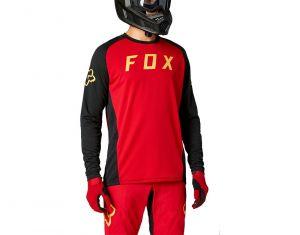 Fox Maglia Maniche Lunghe Uomo Defend Jersey MTB Enduro Free Nero Rosso