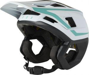 Casco Fox Dropframe Pro Helmet Bianco Azzurro Nero 2021 NUOVO