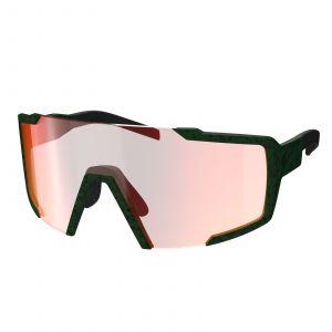 Occhiali Ciclismo Scott Shield Iris Green  Verde Militare Lenti Red Chrome Enhancer