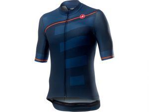 Maglia con Zip Castelli Maniche Corte Trofeo Jersey Dark Infinity Blu