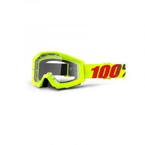 Maschera 100% Strata Goggle Mercury Clear Lens Giallo Fluo