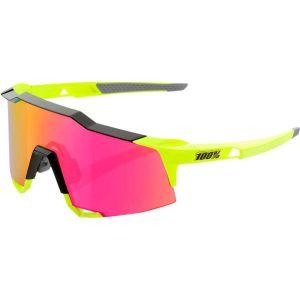Occhiali Ciclismo 100% SPEEDCRAFTNero Lucido e Giallo Fluo Lenti Purple Multilayer Mirror
