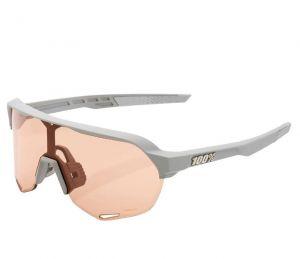 Occhiali Ciclismo 100% S 2 Soft Tact Stone Grey Lenti Hiper Coral Lens