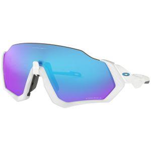 Oakley Flight Jacket Bianco Opaco Lenti Prizm Sapphire Iridium Occhiali Ciclismo